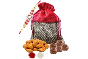 Rakhi Gift Hamper for Brother - Assorted Chocolate and Almond Pack with Rakhi and roli , chawal