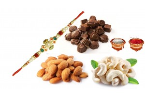 Rakhi with Dry Fruits and Chocolates (Almonds,Cashews ,Chocolates and Rakhi)