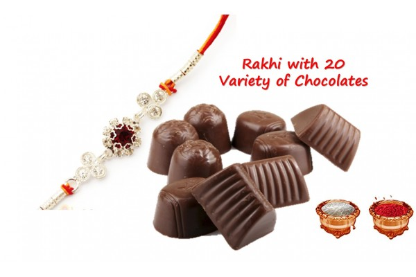 Rakshabandhan Special Assorted Chocolate Pack - 20 Variety with Rakhi and Tilak