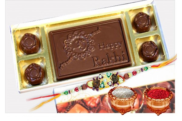 Happy Rakhi Chocolate Bar with Assorted Chocolates and Rakhi