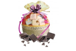 Designer Chocolate Basket Gift with 30 Chocolates - 5 Variety