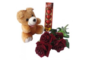 Heart Chocolate With Flower bunch and Teddy