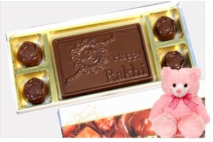 Happy Rakhi Chocolate Bar with Assorted Chocolates and Teddy For Sister