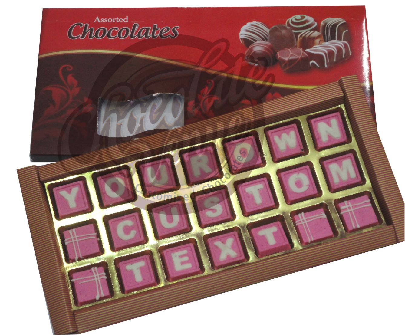 "21 Chocolates in Three Rows ( Approx.Box Size 14"" X 7 "")(Pink/White)"