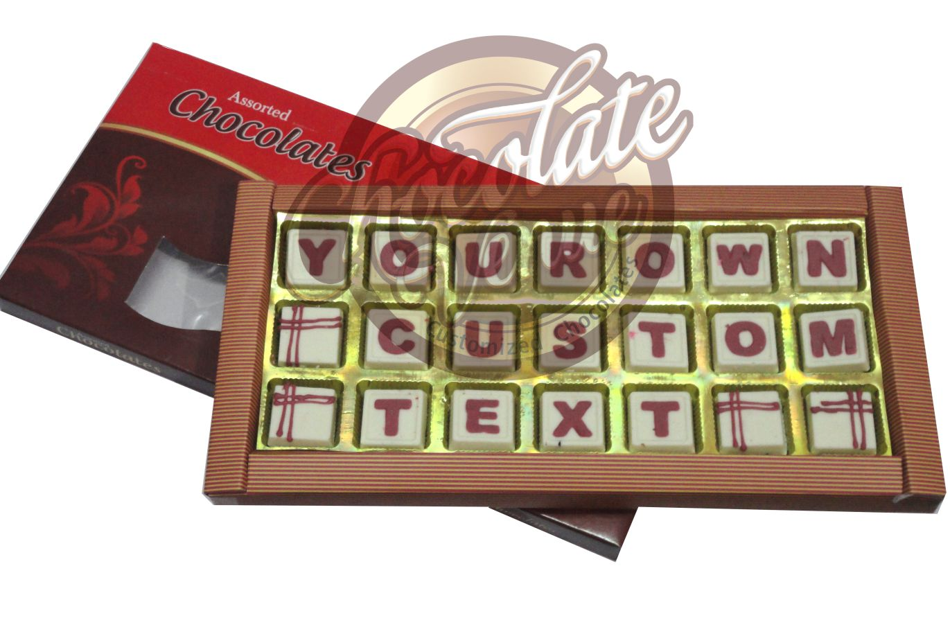 "21 Chocolates in Three Rows ( Approx.Box Size 14"" X 7 "")(White)/Red)"