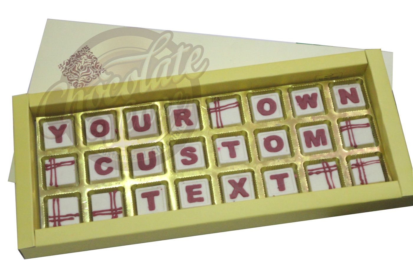 "24 Chocolates in Three Rows (16 "" X 7"")(White/Red)"