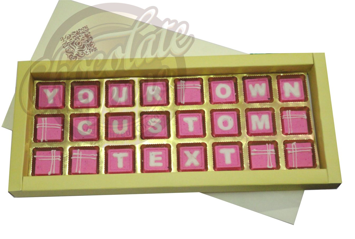 "24 Chocolates in Three Rows (16 "" X 7"")(Pink/White)"