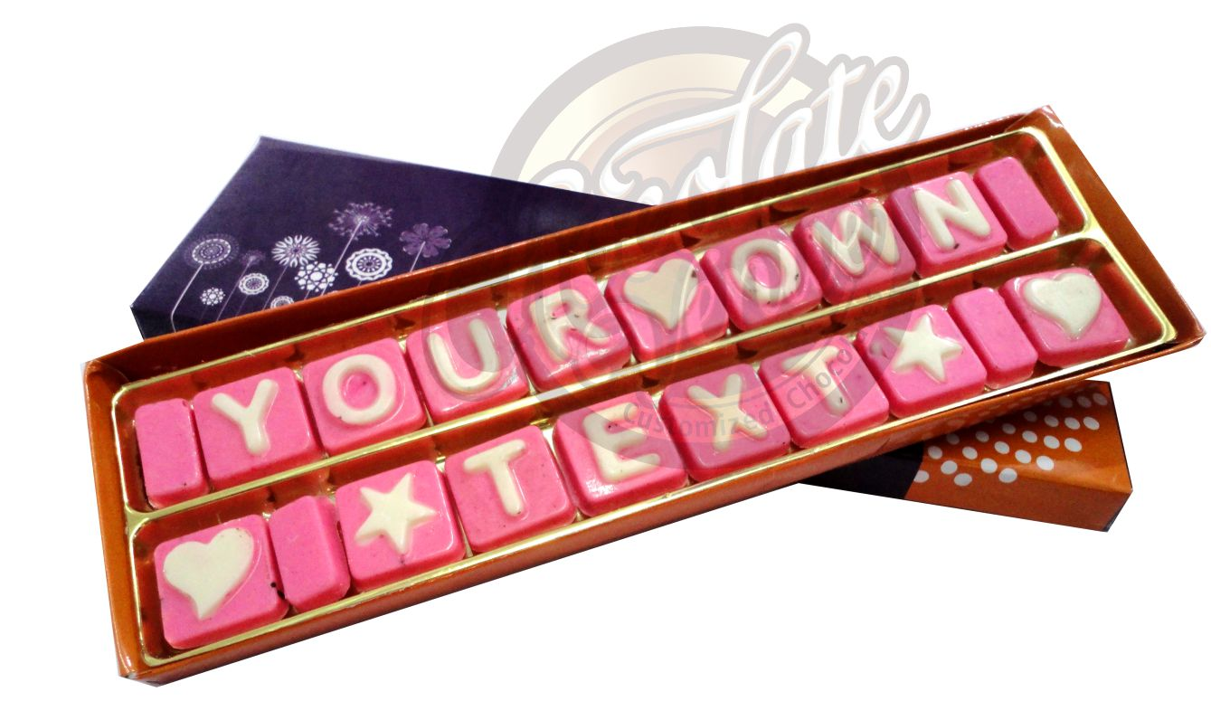 "18 Chocolate in Two Rows in (Approx.Box Size  9"" X 2"")(Pink/White)"