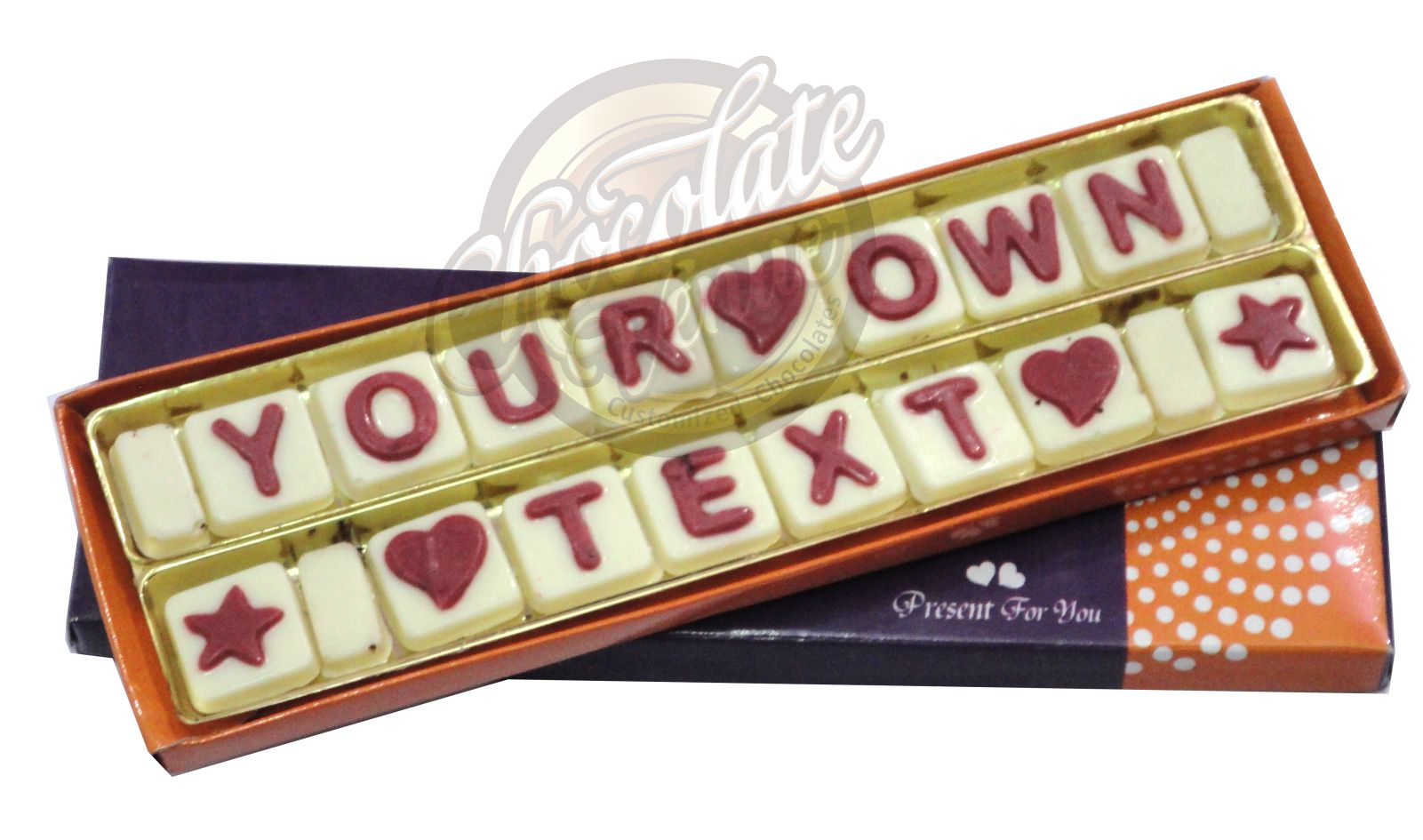 "18 Chocolate in Two Rows in (Approx.Box Size  9"" X 2"")(White/Red)"
